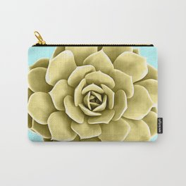 Yellow Succulent Plant on Teal Carry-All Pouch