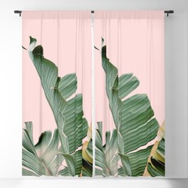 Banana leaf, Plant, Green and Pink , Minimal, Trendy decor 03 Blackout Curtain