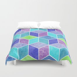 Blue and Purple Geometric Hexagons Digital Pattern Duvet Cover