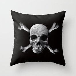 Jolly Roger - Black and White Throw Pillow