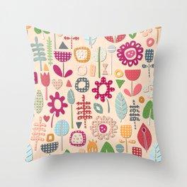 paper cut flowers peach Throw Pillow
