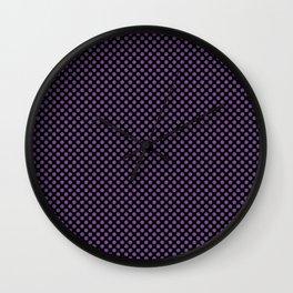 Black and Royal Lilac Polka Dots Wall Clock