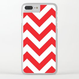 Large chevron pattern / red Clear iPhone Case