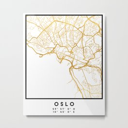 OSLO NORWAY CITY STREET MAP ART Metal Print