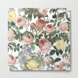 Vintage Roses and Iris Pattern - Flower Dreams by #UtART Metal Print