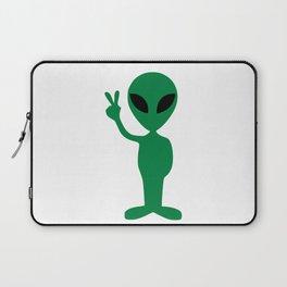 Green Alien Peace Laptop Sleeve