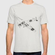 Airplane diagram Mens Fitted Tee Silver MEDIUM