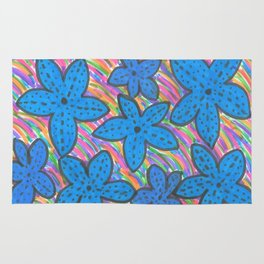 Rainbow Bright Blue Starfish Rug