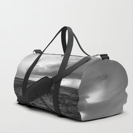 A Dreamer's Journey - Railroad Tracks and Storm in Black and White Duffle Bag
