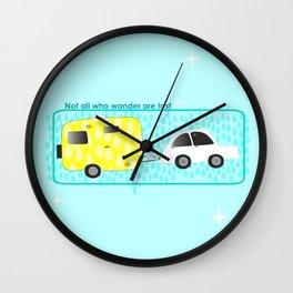 glamping in sun or rain Wall Clock