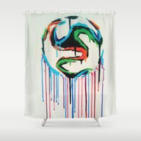 world cup Shower Curtains featuring Bleed World Cup by DesignYourLife
