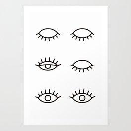 Eyes Wink Print, Makeup Art, Makeup Illustration, Illustration Poster, Fashion Poster, Wardrobe Art, Art Print