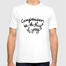 Comparison is the thief of joy (black and white) MEDIUM Mens Fitted Tee White