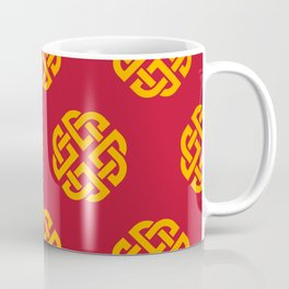 Celtic Endless Knot Symbol China Red and Gold Pattern Coffee Mug