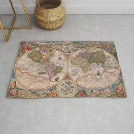 Vintage Map Print - 1594 double hemisphere world map by Petrus Plancius Rug