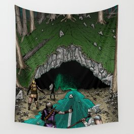 Party Approaching Cave Wall Tapestry