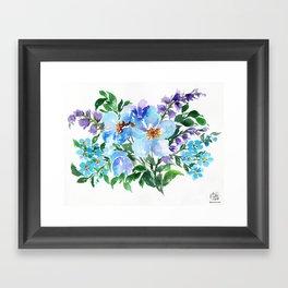 Blues and Purples Botanical Art Framed Art Print
