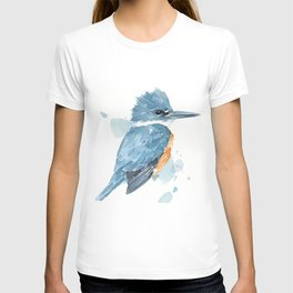 Belted Kingfisher watercolor T-shirt