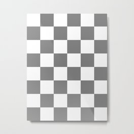 Large Checkered - White and Gray Metal Print