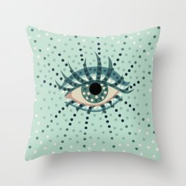 Dots And Abstract Eye Throw Pillow