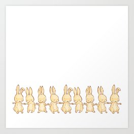 Autumn Bunny Line Art Print