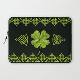 Irish Shamrock Four-leaf clover with celtic decor Laptop Sleeve