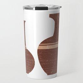 Greek Pottery 32 - Hydria - Terracotta Series - Modern, Contemporary, Minimal Abstract - Burnt Umber Travel Mug