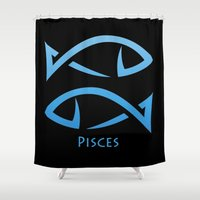 pisces Shower Curtains featuring Pisces by Groovyal