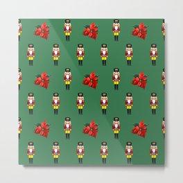 Nutcracker Poinsetta Christmas Flower pattern green Metal Print