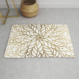 Elegant white faux gold floral trendy mandala Rug