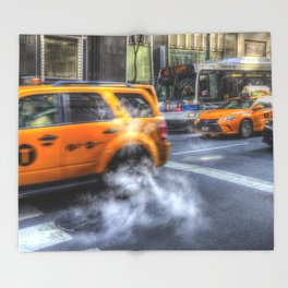 New York Taxis Throw Blanket