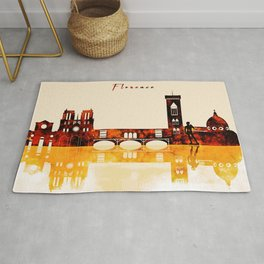 Florence Italy Red Yellow Skyline Rug