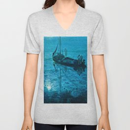 African American Masterpiece 'Disciples See Jesus Walk on Water from Boat' by Henry Ossawa Tanner Unisex V-Neck