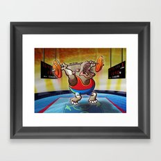 Olympic Weightlifting Hippopotamus Framed Art Print