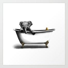 Elephant in Bath Art Print