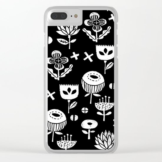 Linocut floral florals minimal scandinavian minimalist art print pattern black and white Clear iPhone Case