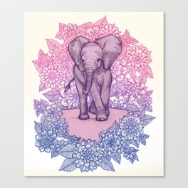 Cute Baby Elephant in pink, purple & blue Canvas Print