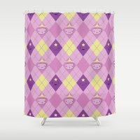 princess bubblegum Shower Curtains featuring Argyle Time! (Princess Bubblegum & Lumpy Space Princess version) by Kakibot