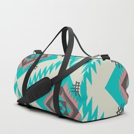 Turquoise ethnic shapes Duffle Bag