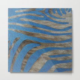 Blue Animal Hide Design Metal Print