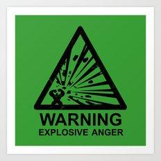 Warning: Explosive Anger Art Print