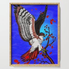"""""""Tristan's Redtailed hawk"""" Serving Tray"""