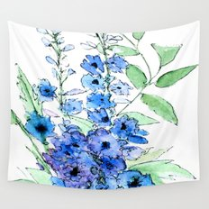 Delphinium Illustration Watercolor Painting Wall Tapestry