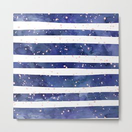 Navy blue watercolor stripes blush pink splatters Metal Print