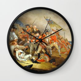 John Trumbull - The Death of General Warren at the Battle of Bunker Hill, 17 June 1775 Wall Clock