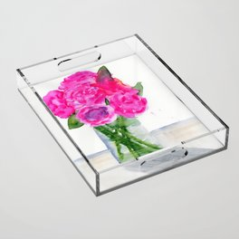 Peonies in a Vase Acrylic Tray