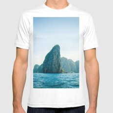 Island 2 MEDIUM White Mens Fitted Tee