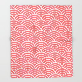 Japanese Seigaiha Wave Pattern – Coral Throw Blanket