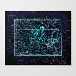 Aquarius, Constellation map, Zodiac, Sign sky, Stars, Universe, astrology, astrological Canvas Print