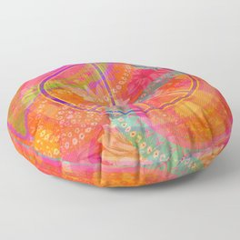 Hippie Chic Paisley Flowers Peace Floor Pillow
